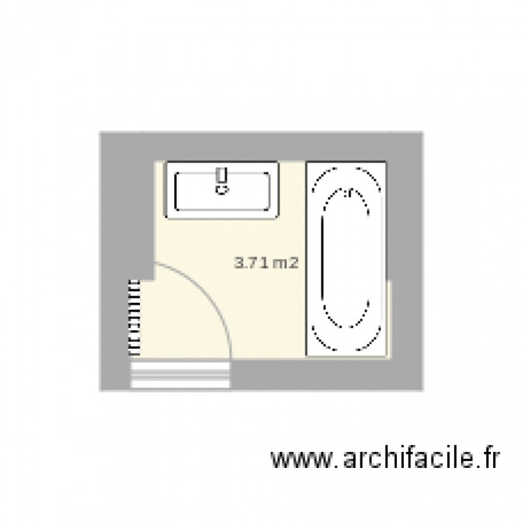 salle de bain actuelle plan 1 pi ce 4 m2 dessin par jossj. Black Bedroom Furniture Sets. Home Design Ideas