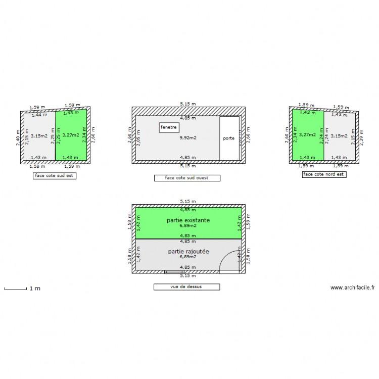 abri de jardin béton - Plan 7 pièces 37 m2 dessiné par Ricko08