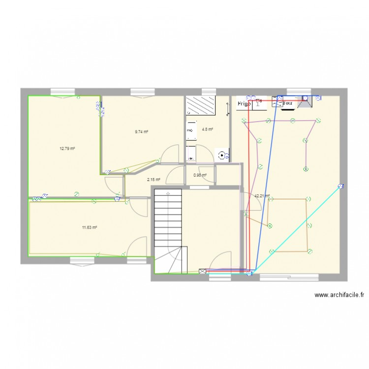 plan de maison bas electricite plan 7 pi ces 84 m2 dessin par adriano34430. Black Bedroom Furniture Sets. Home Design Ideas