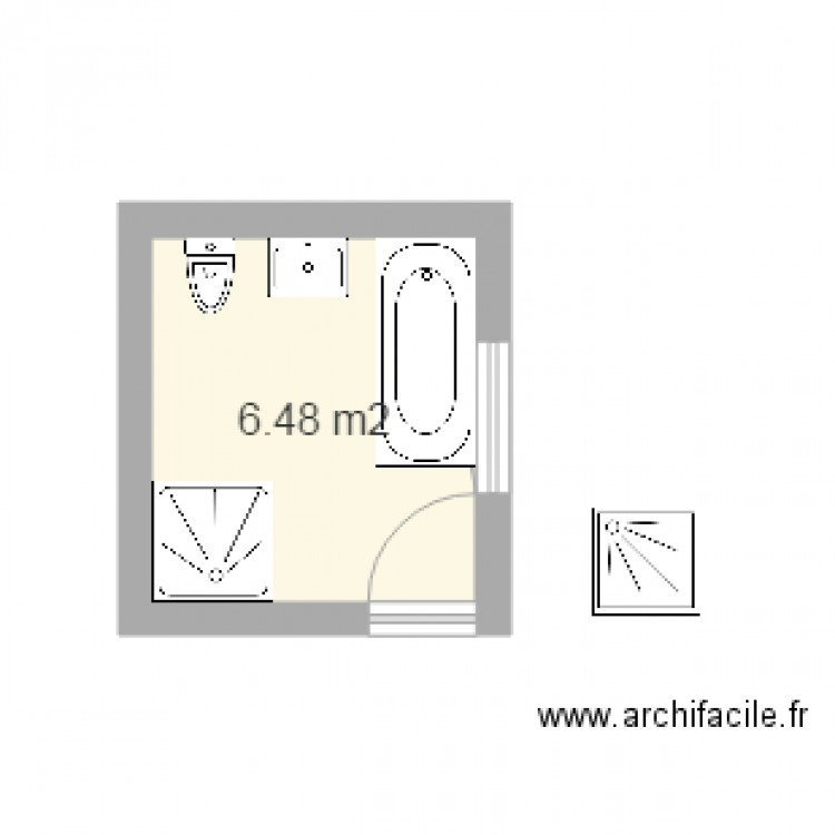 salle de bain bis plan 1 pi ce 6 m2 dessin par kpone. Black Bedroom Furniture Sets. Home Design Ideas