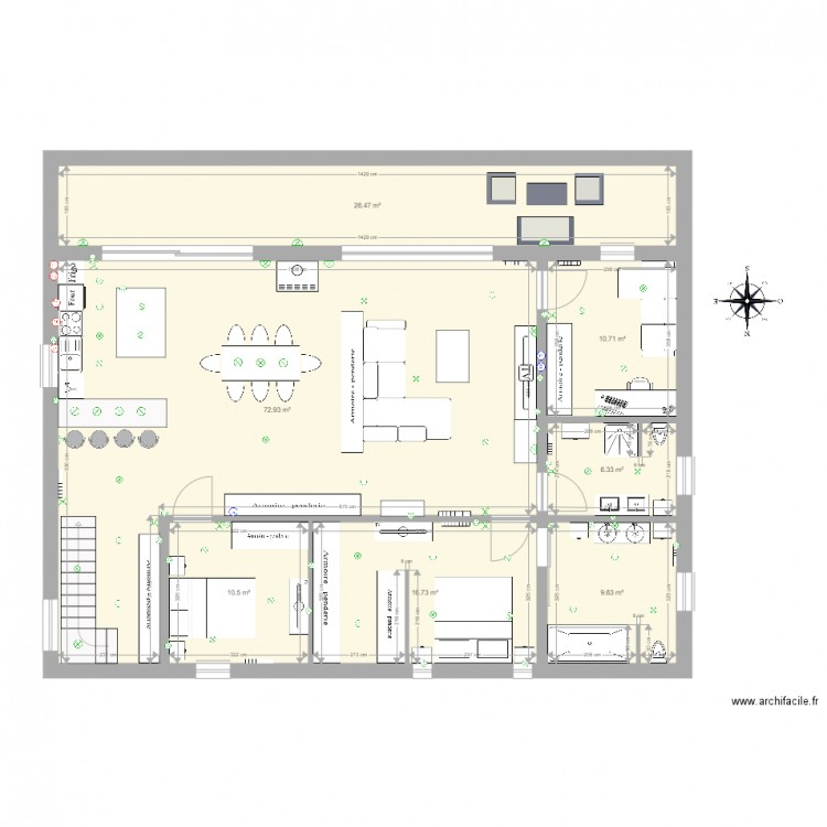 maison 300m2 tage 1 plan 7 pi ces 153 m2 dessin par laodew. Black Bedroom Furniture Sets. Home Design Ideas