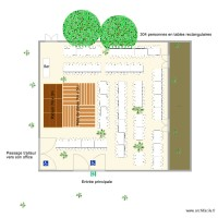 Pavillon des Oliviers implantation 304 personnes tables rectangulaires