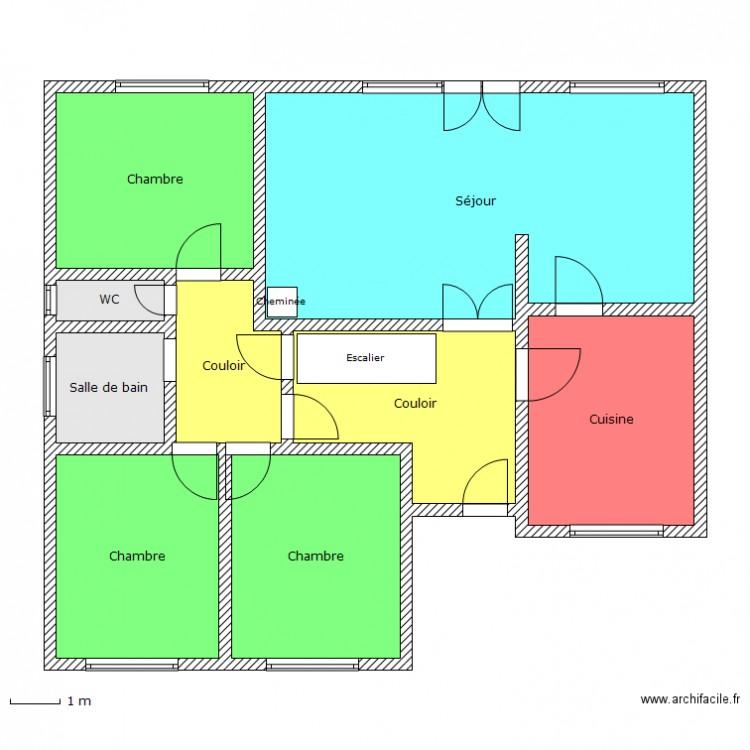 Plan maison rdc simple plan 9 pi ces 119 m2 dessin par for Plan de maison zone llc