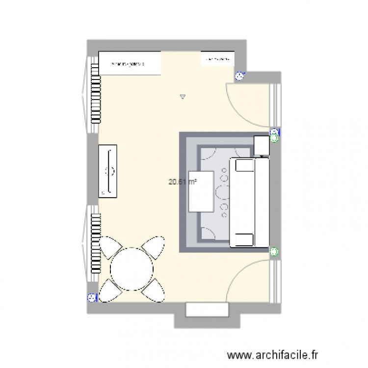 Chambre a moi2 plan 1 pi ce 21 m2 dessin par rebeccab for Chambre one piece