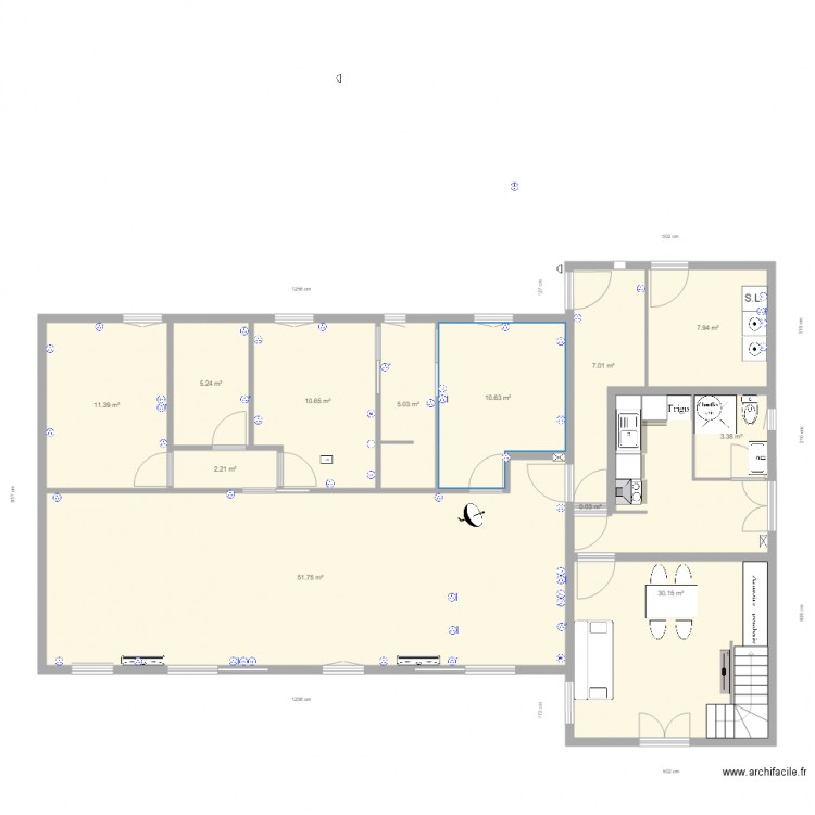 electricit maison plan 12 pi ces 145 m2 dessin par. Black Bedroom Furniture Sets. Home Design Ideas