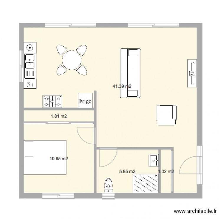 F2 60m2 plan 5 pi ces 61 m2 dessin par lilirush28 for Plan maison 60m2