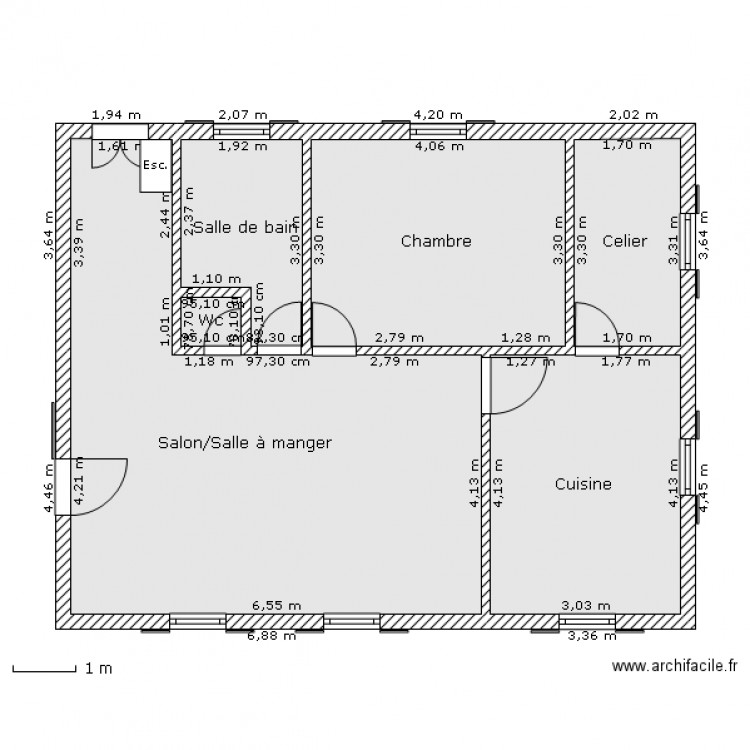 plan maison rdc plan 6 pi ces 70 m2 dessin par oikos. Black Bedroom Furniture Sets. Home Design Ideas