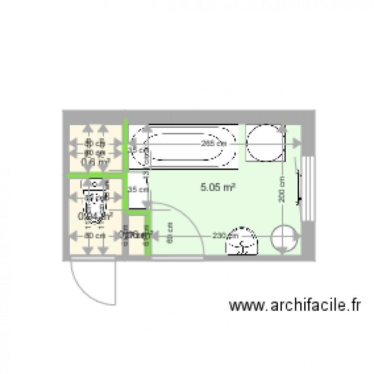 Salle de bain avant 2018 plan 4 pi ces 7 m2 dessin par for Salle de bain 4 m2
