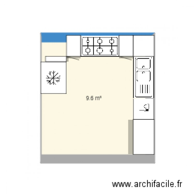 cuisine plan 1 pi ce 10 m2 dessin par wendyang. Black Bedroom Furniture Sets. Home Design Ideas