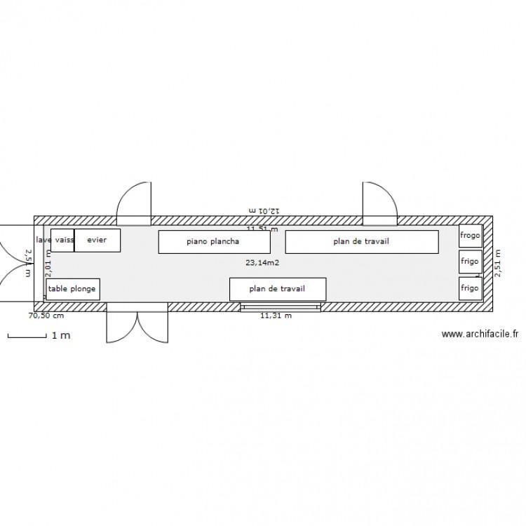Container cuisine plan 1 pi ce 23 m2 dessin par ouaf for Container maison taille