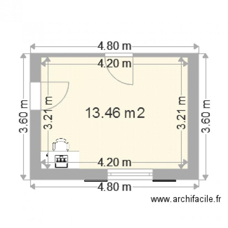 Bureau plan 1 pi ce 13 m2 dessin par giraf78 for Nombre de m2 par personne bureau