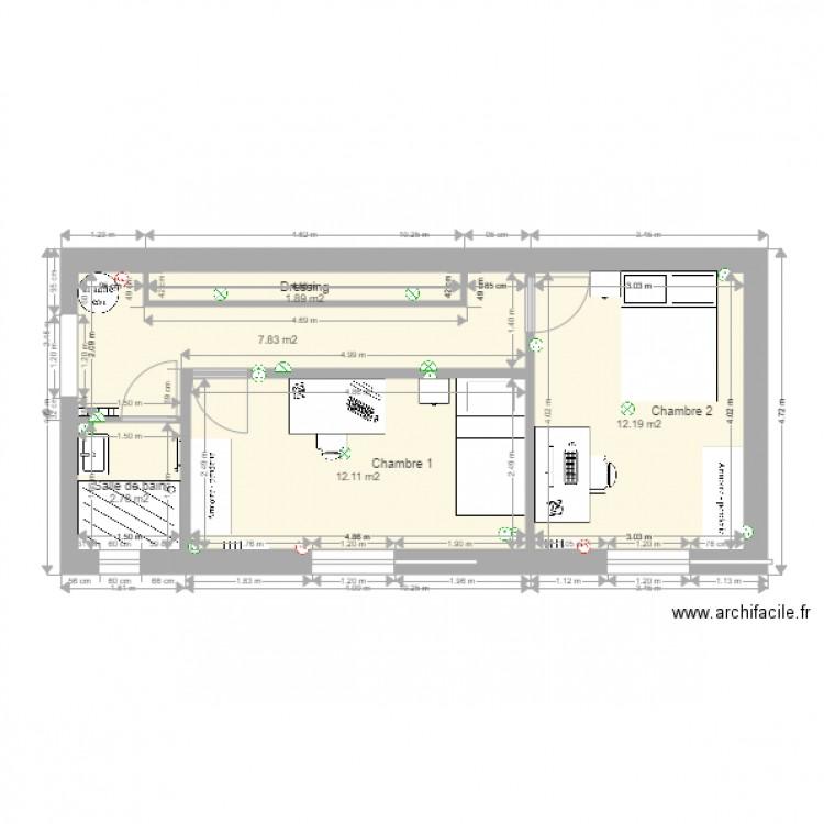 Agrandissement suite plan 5 pi ces 37 m2 dessin par cblassy for Agrandissement maison rectangulaire