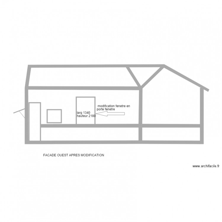 Benoit parcey modif porte fenetre plan 5 pi ces 34 m2 for Fenetre plan