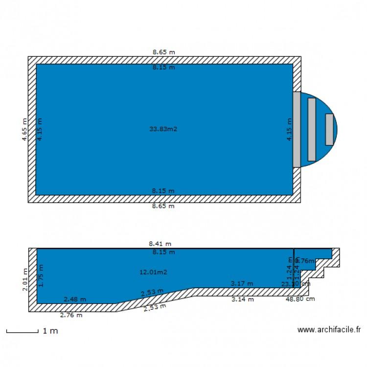 Plan en coupe piscine for Combien coute une piscine enterree