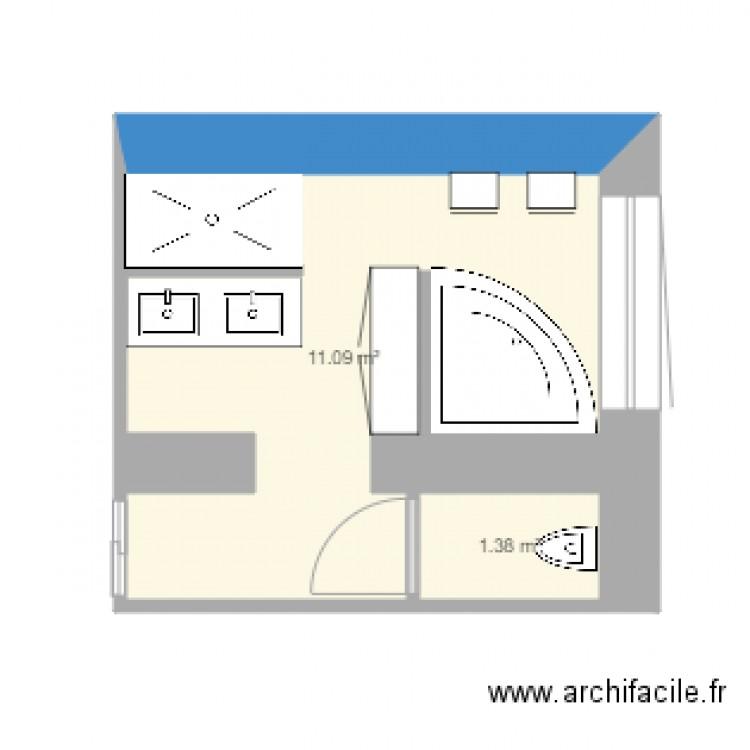 Salle de bain plan 2 pi ces 12 m2 dessin par dondon11 for Salle de bain 2 m2