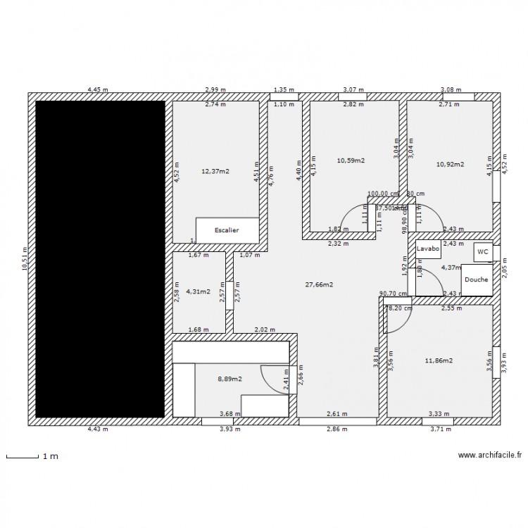 plan maison carree etage plan 9 pi ces 132 m2 dessin. Black Bedroom Furniture Sets. Home Design Ideas