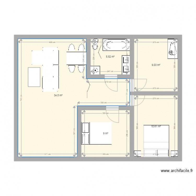 Maison t4 2eme plan 5 pi ces 69 m2 dessin par amandin9531 for Plan maison t4