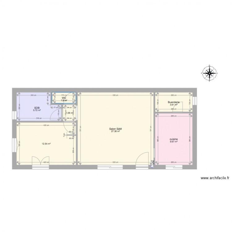 Plan maison sans meuble plan 7 pi ces 61 m2 dessin par zackomos - Consommation electrique moyenne maison 140 m2 ...