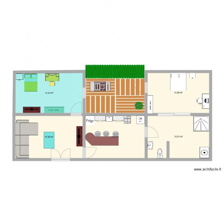 maison de emma et lulu plan 5 pi ces 70 m2 dessin par sumongrosset. Black Bedroom Furniture Sets. Home Design Ideas