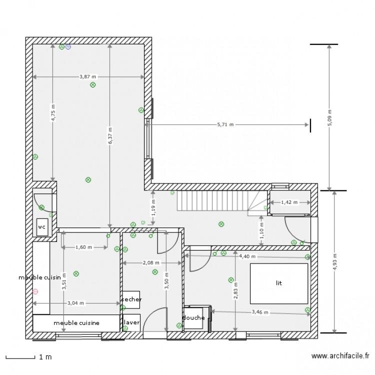 nath rdc 04 avec cloison 150 pour etage mobilier plan 3 pi ces 64 m2 dessin par gastabois. Black Bedroom Furniture Sets. Home Design Ideas