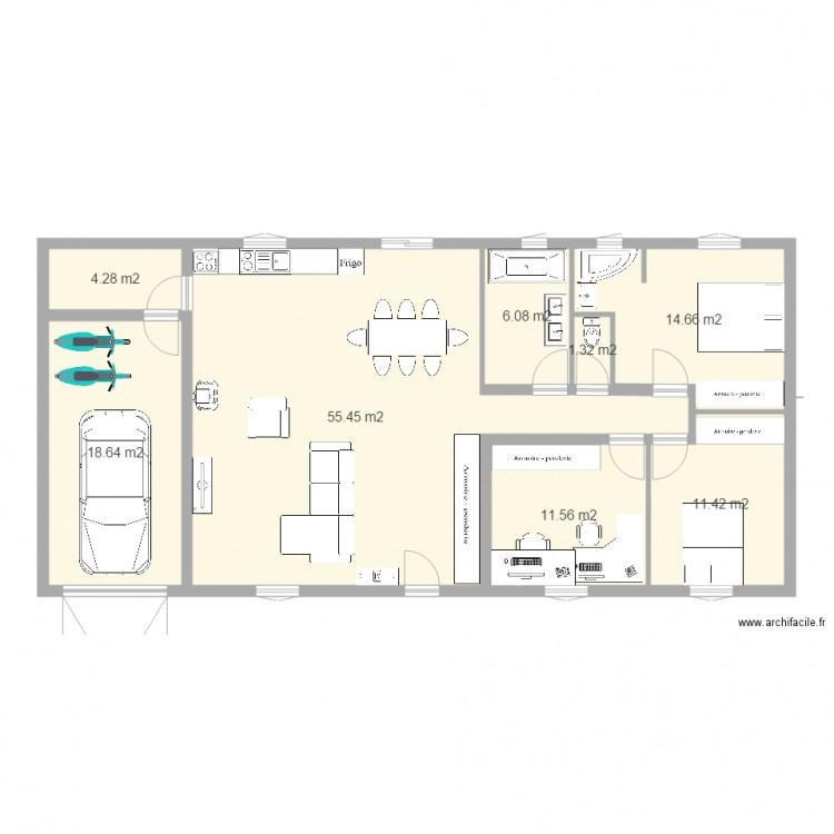 Maison tania plan 8 pi ces 123 m2 dessin par benoitbrice38 for Modifier plan maison