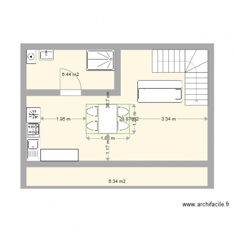 Chalet 70m2 balcon terrasse plan 3 pi ces 42 m2 dessin for Amenagement petit jardin 70m2
