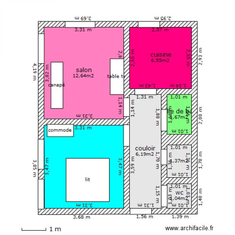 Appartement 50m2 plan 7 pi ces 41 m2 dessin par ramses25 - Plan appartement 120 m2 ...