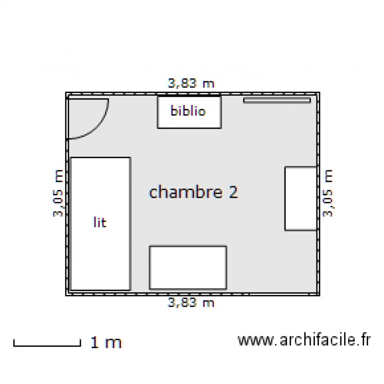 chambre 2 plan 1 pi ce 11 m2 dessin par bazinam. Black Bedroom Furniture Sets. Home Design Ideas