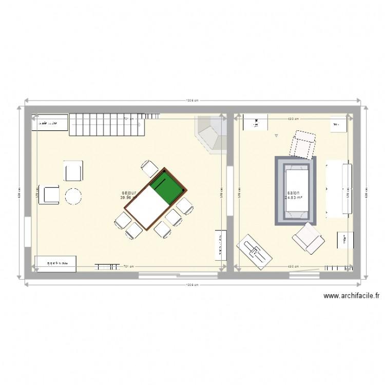 am nagement s jour salon plan 2 pi ces 65 m2 dessin par briphil. Black Bedroom Furniture Sets. Home Design Ideas