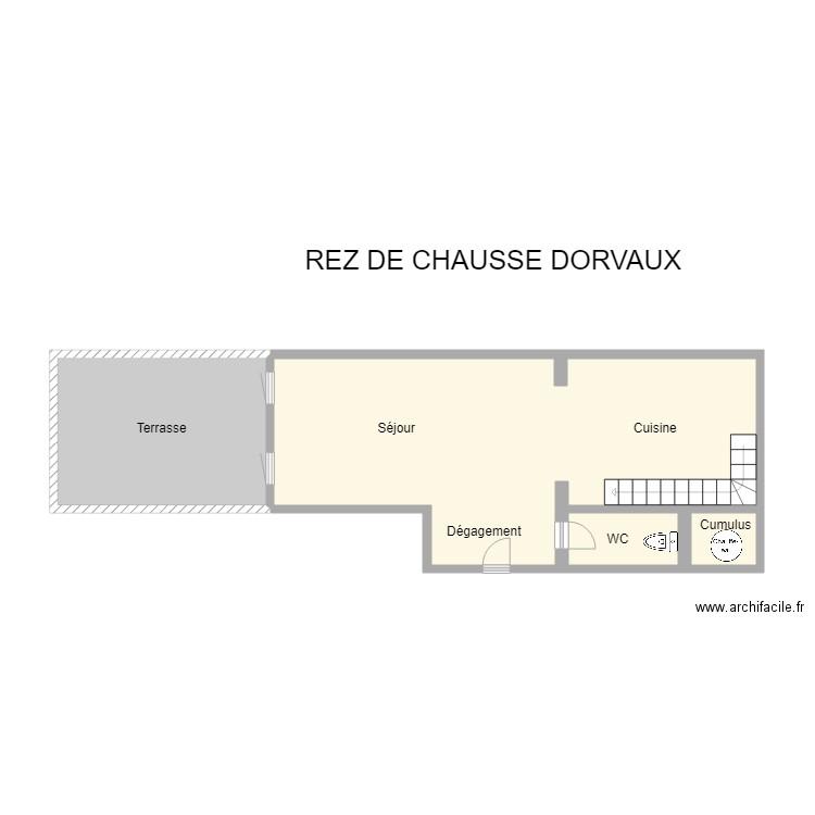 rez de chausse dorvaux plan 4 pi ces 40 m2 dessin par agence. Black Bedroom Furniture Sets. Home Design Ideas