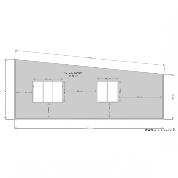 facade nord plan 1 pi ce 33 m2 dessin par cebean. Black Bedroom Furniture Sets. Home Design Ideas