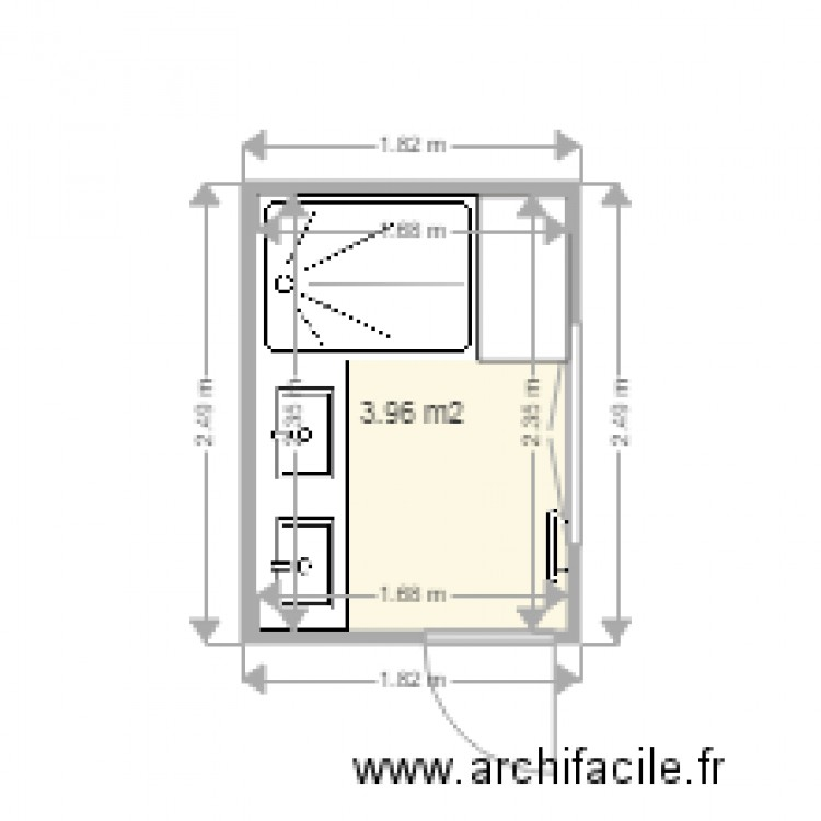 salle de bain 4m2 plan 1 pi ce 4 m2 dessin par pgm. Black Bedroom Furniture Sets. Home Design Ideas