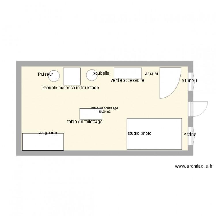 Salon de toilettage plan 1 pi ce 41 m2 dessin par lapattecaline - Salon toilettage a vendre ...