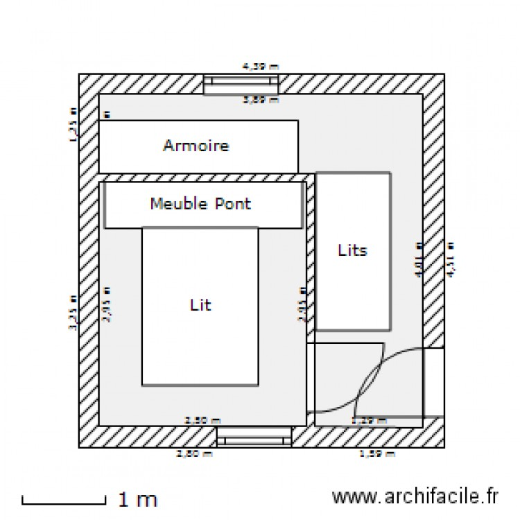 Am nagement chambre plan 2 pi ces 15 m2 dessin par for Amenagement chambre 10 m2