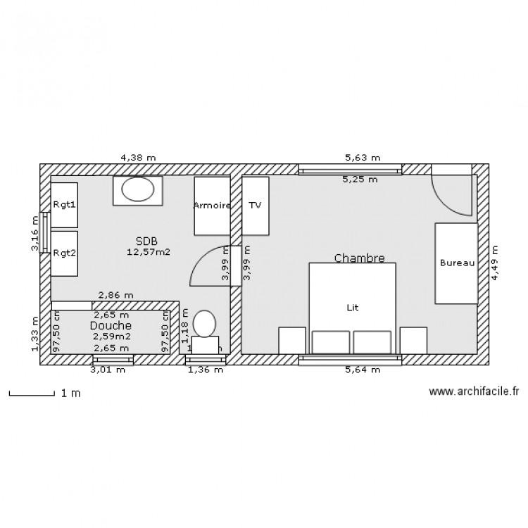 bungalow 1 chambre plan 3 pi ces 36 m2 dessin par