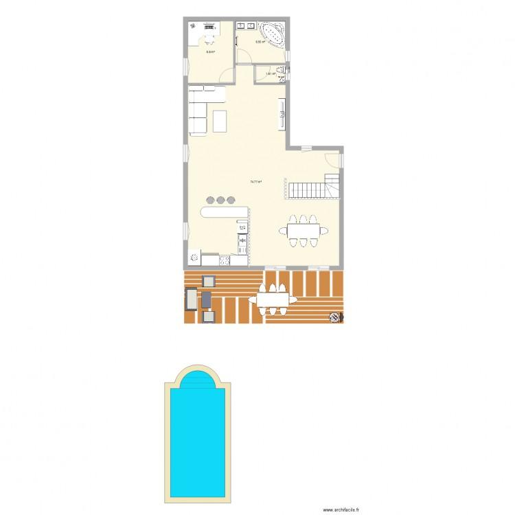 rez de chausse plan 4 pi ces 92 m2 dessin par thomas2205. Black Bedroom Furniture Sets. Home Design Ideas