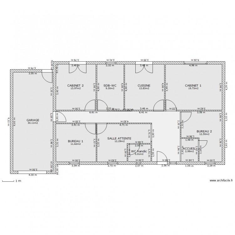 cabinet dentaire variante 1 plan 11 pi ces 149 m2 dessin par tbeugnon. Black Bedroom Furniture Sets. Home Design Ideas