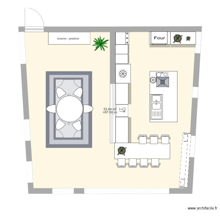 Plus adapté Cuisine avec Ilot central - Plan 1 pièce 56 m2 dessiné par SOUCHIE FC-74