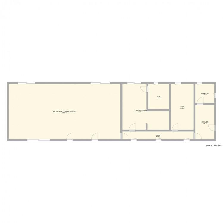 Tuilerie ouvertures plan 7 pi ces 186 m2 dessin par for Cuisine ouverte declaration h1