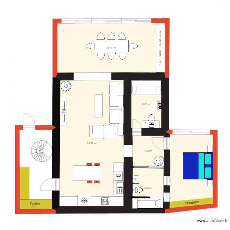 Les escouradi res salle de bain plan 10 pi ces 117 m2 - Construire un plan de travail ...