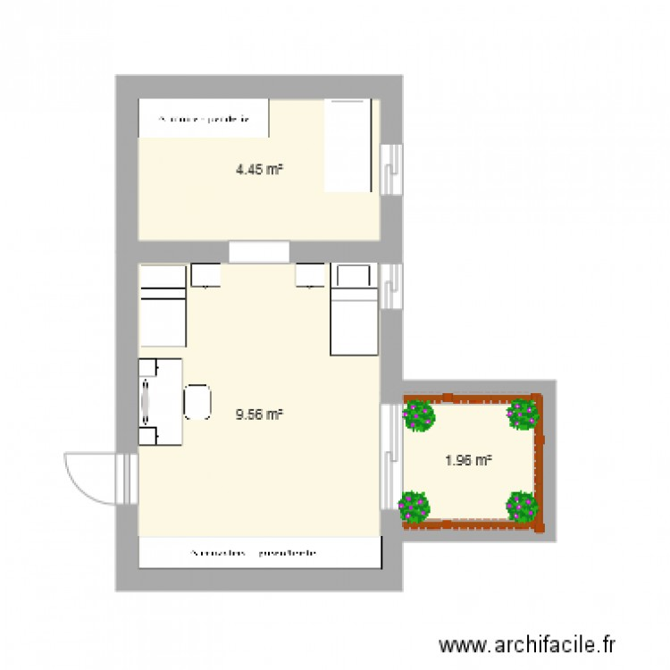 chambre coucher plan 3 pi ces 16 m2 dessin par soussi. Black Bedroom Furniture Sets. Home Design Ideas