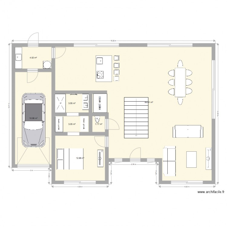 maison 21 plan 7 pi ces 130 m2 dessin par jordan89. Black Bedroom Furniture Sets. Home Design Ideas