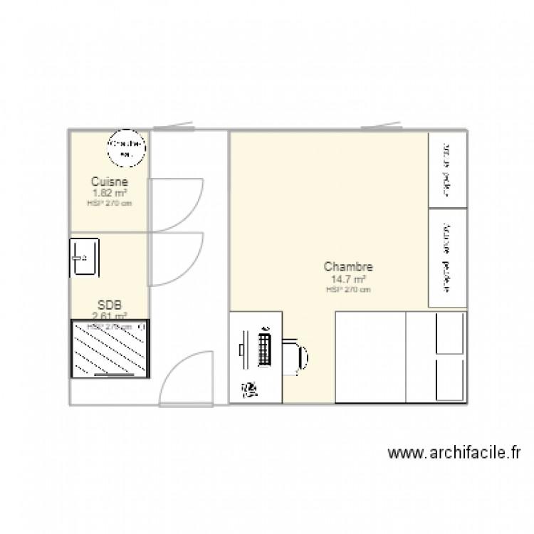 Paris 11e actuel plan 3 pi ces 19 m2 dessin par for Garage paris 11e