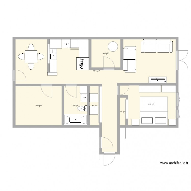 appartement plan 7 pi ces 68 m2 dessin par malauray. Black Bedroom Furniture Sets. Home Design Ideas