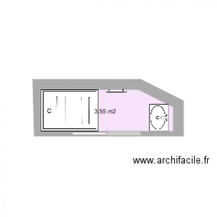 Salle de bain rdc plan 1 pi ce 4 m2 dessin par mcrozat for Salle de bain 4 m2