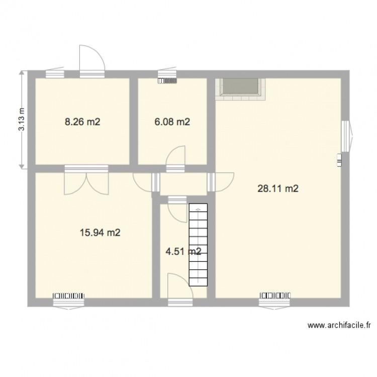 Plan vierge maison rez de chauss e plan 5 pi ces 63 m2 for Plan de maison 5 pieces