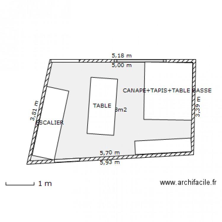 Salon salle a manger plan 1 pi ce 18 m2 dessin par pat84430 for Salon salle a manger 70 m2