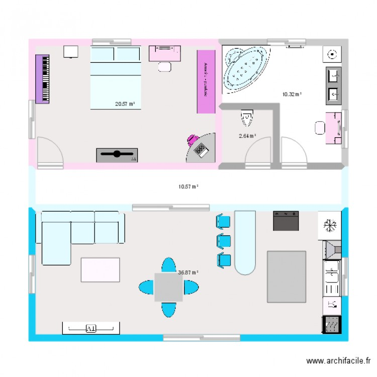 Plan de maison de coralie plan 5 pi ces 81 m2 dessin for Plan de maison 5 pieces