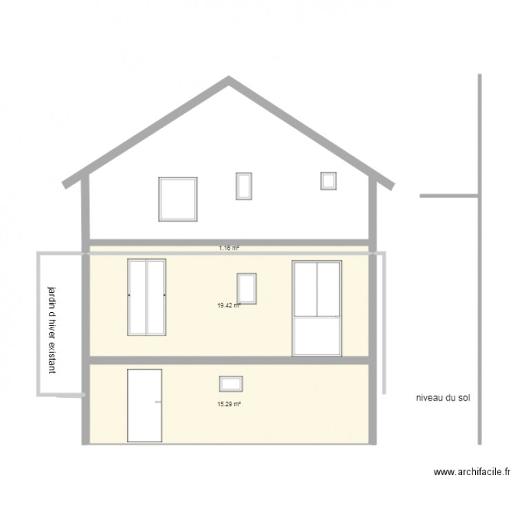 facade arriere cot jardin plan 3 pi ces 36 m2 dessin par osmanbay. Black Bedroom Furniture Sets. Home Design Ideas