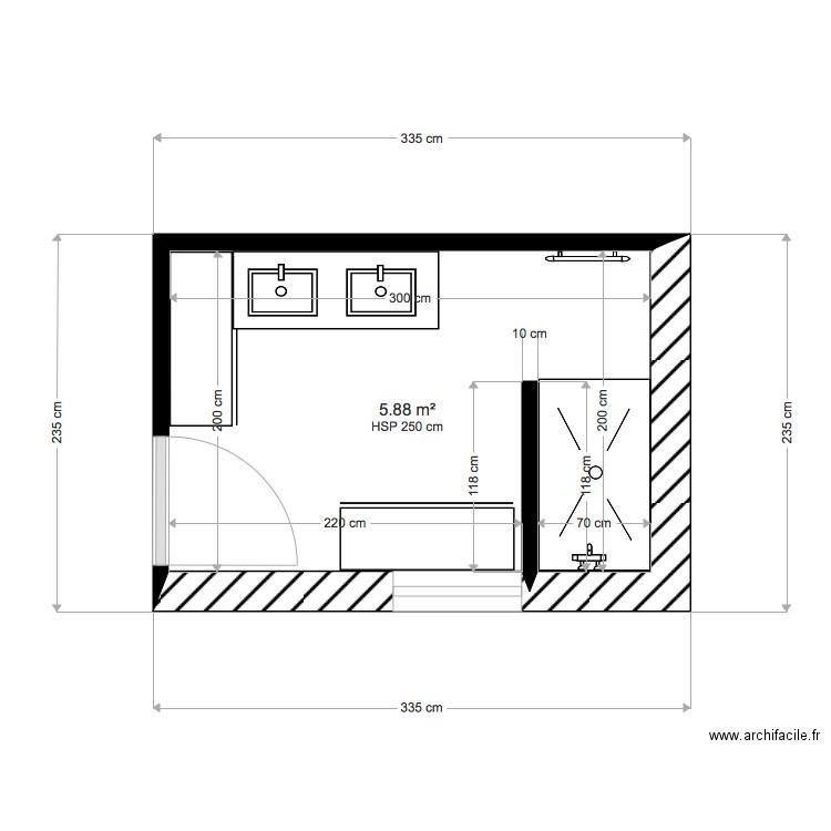 Salle De Bain 6m2 1er Plan 1 Piece 6 M2 Dessine Par Solenn